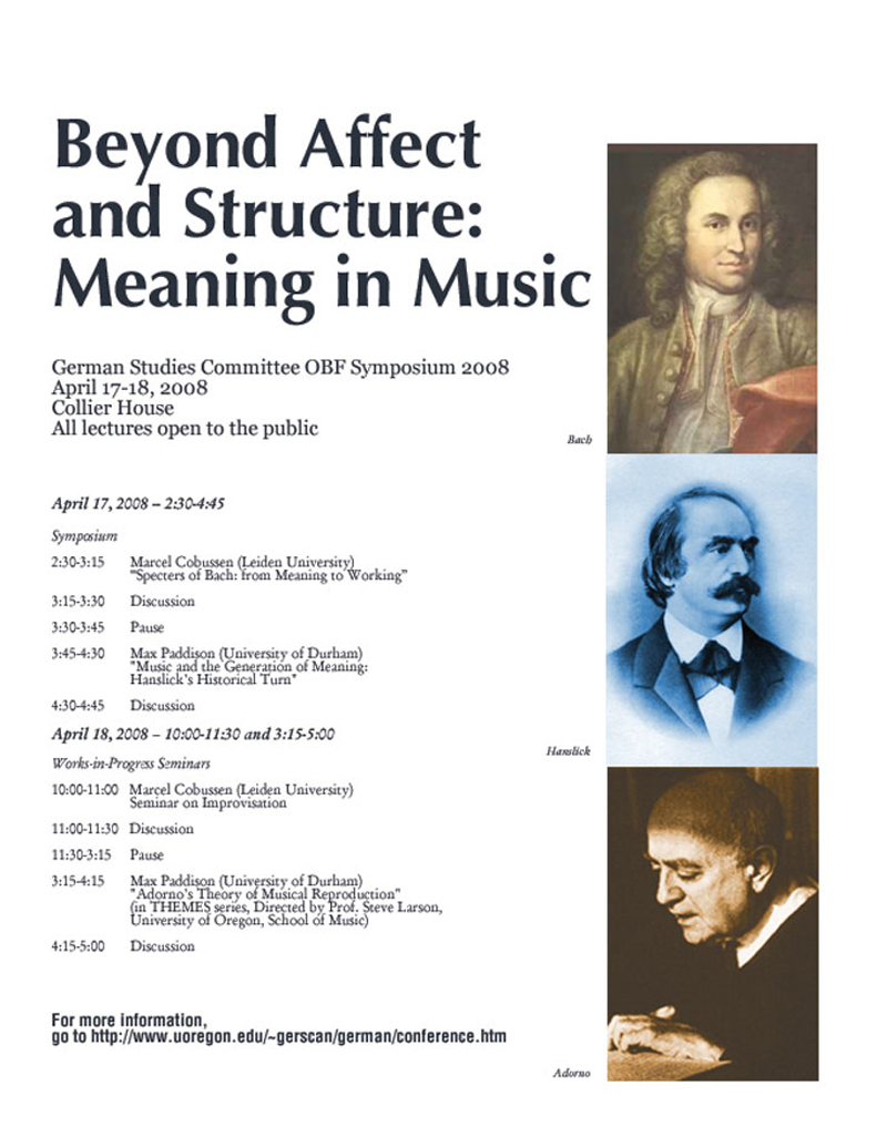 Beyond Affect and Structure: Meaning in Music Conference 2008