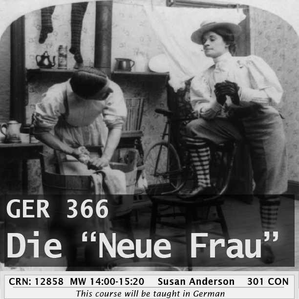 ger 366 flyer, historical photo of two german woman, one washing clothes and the other wearing pants and standing tall.