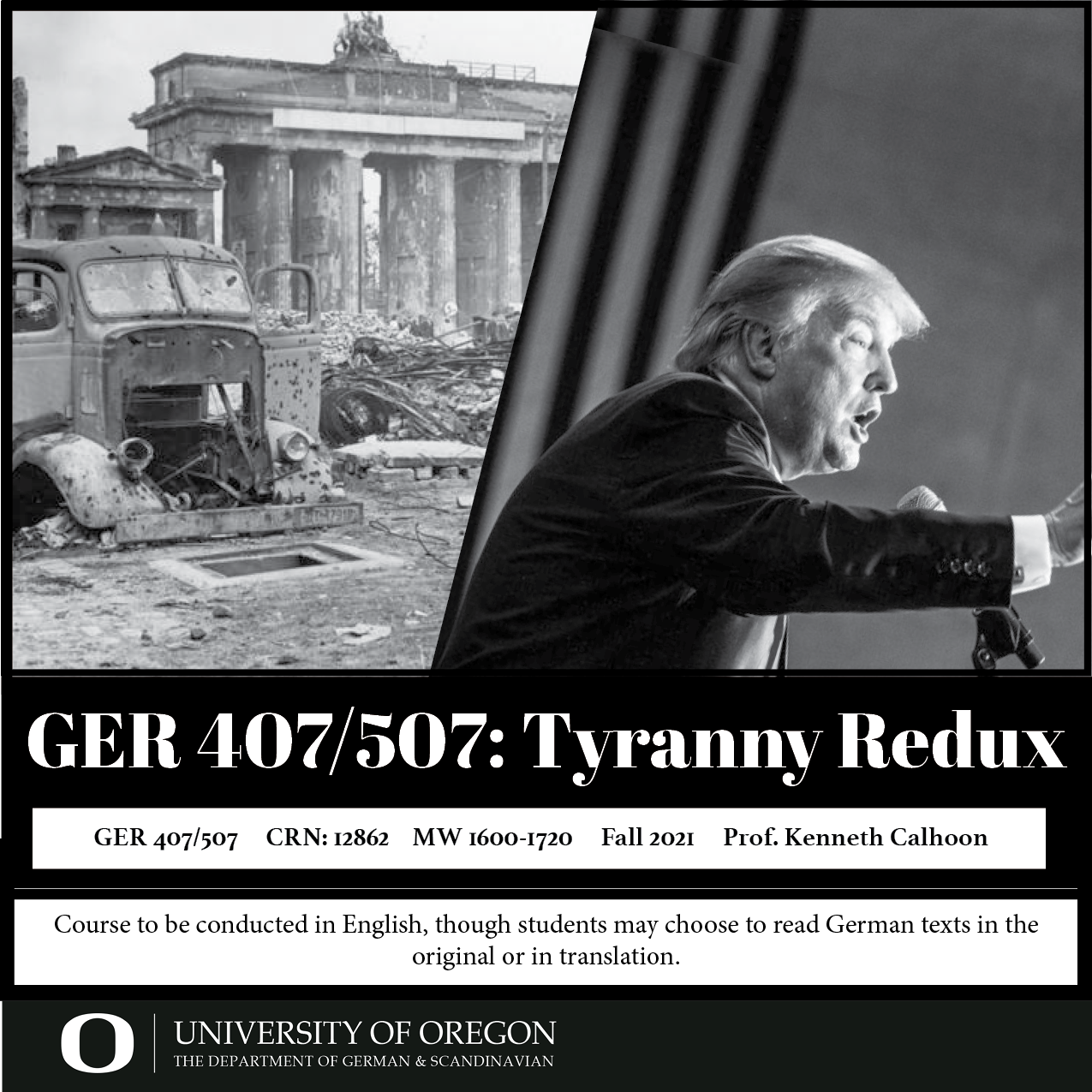 ger 407/507 flyer comparing Trump with a photo of postwar Germany