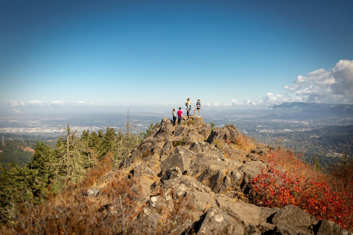 Students on mountaintop
